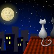 Two cats on a roof — Stock Vector