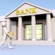 Bank, man and money — Stock Photo #1783556
