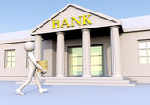 Bank, man and money — Stock Photo