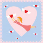 tarjeta de San Valentín con chica — Vector de stock