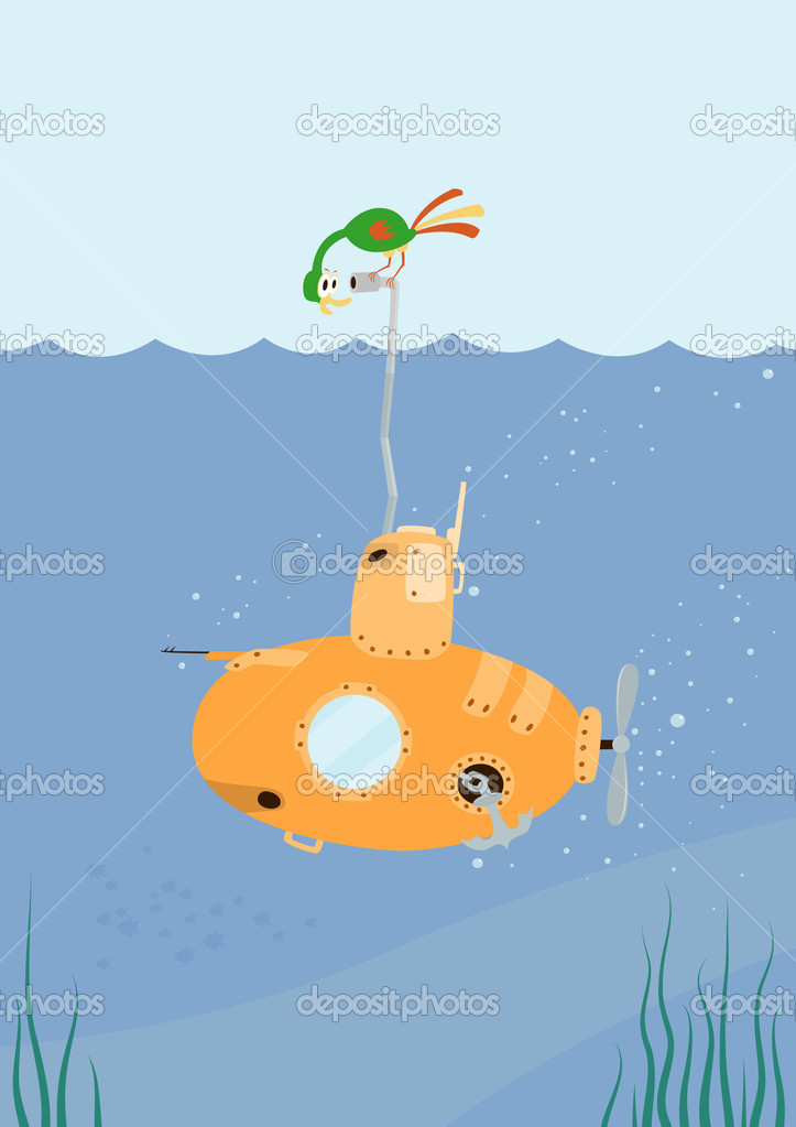 Cartoon Submarine with funny color bird on the periscope. Vector Illustration. — Stock Vector #1658645
