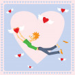 Vector de stock : Valentine Card with flying hearts
