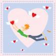 Sevgililer günü kartı ile uçan Kalpler — Stok Vektör