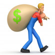Mechanic carries a bag of money — Stockfoto
