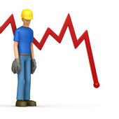 Builder with red diagram — Stock Photo