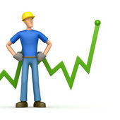 Builder with green diagram — Stock Photo