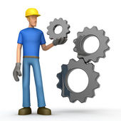 Builder with gears — Stock Photo