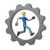Builder running in Gear Wheel — Stock Photo