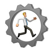 Manager running in Gear Wheel — Stock Photo
