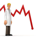 Doctor with red diagram — Stock Photo