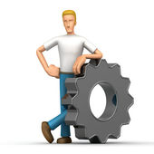 Casual man with gear — Stock Photo