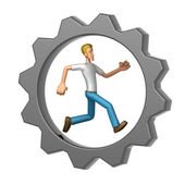 Casual man running in Gear Wheel — Stock Photo