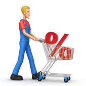 Mechanic with trade cart — Stock Photo