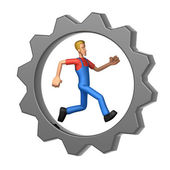 Mechanic running in Gear Wheel — Stock Photo