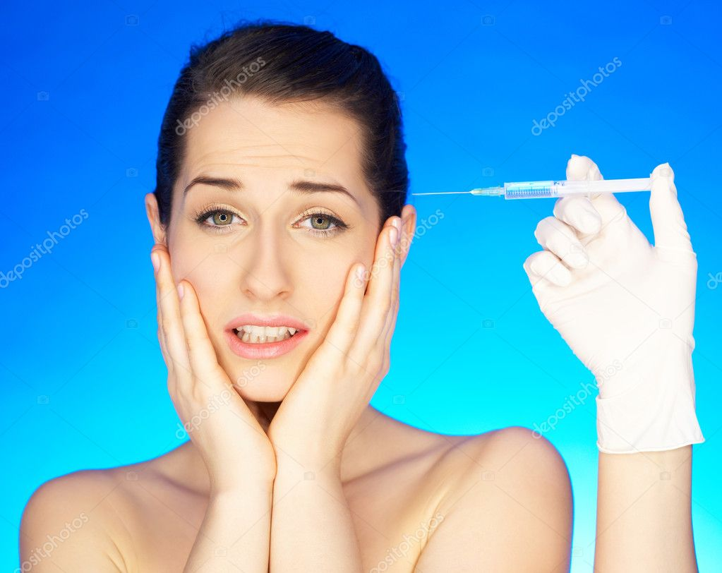 Portrait of Beautiful woman, she recieving a botox injection — Stock Photo #1929815