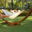 Stock Photo: Womon hammock