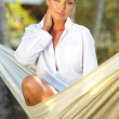 Woman on hammock — Stock Photo