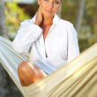 Woman on hammock — Stock Photo #1930612