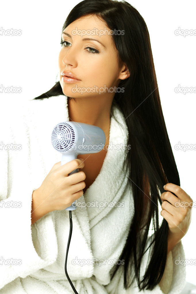Young beautiful woman during daily morning routines — Stock Photo #1930801