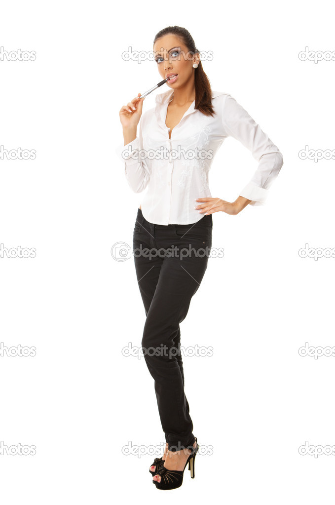 Portrait of beautiful business woman isolated on white — Stock Photo #1931289