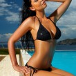 Black Bikini Girl — Stock Photo