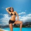 Stock Photo: Black Bikini Girl