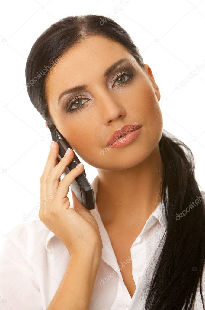 Beautiful business woman is using mobile telephone — Foto Stock #1945159