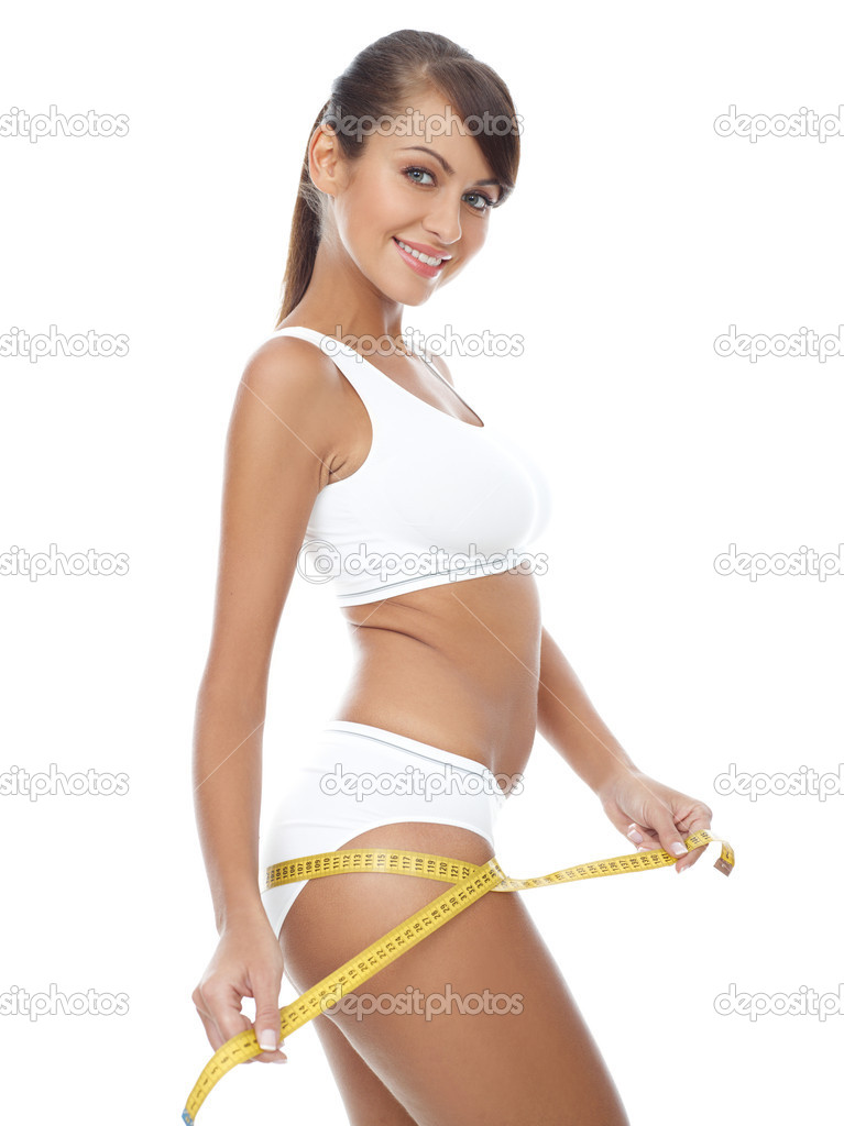 Young beautiful woman with measure tape on white — Lizenzfreies Foto #1946911
