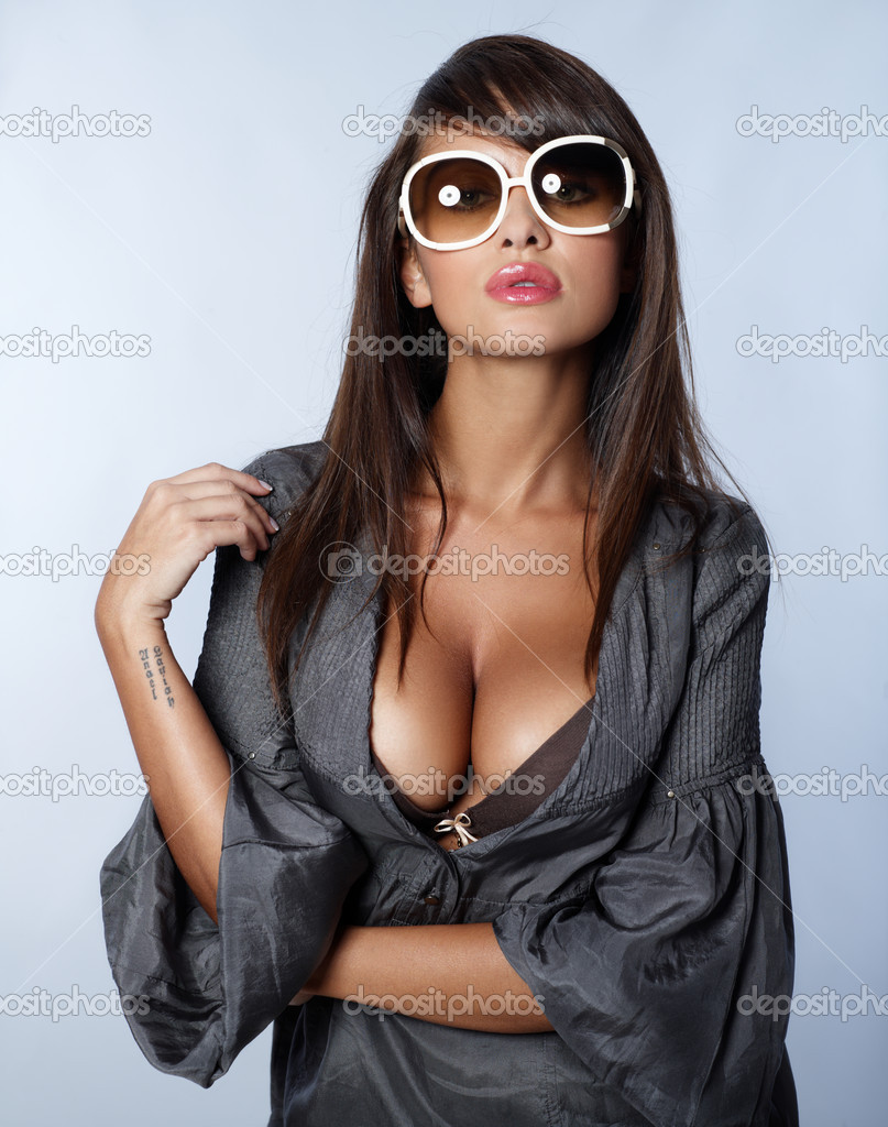 Portrait of beautiful sexy woman on blue — Foto de Stock   #1946994