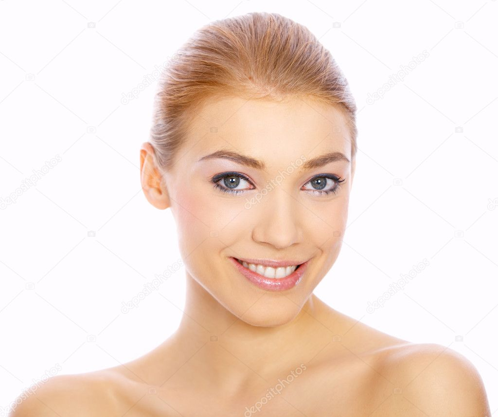 Portrait of beautiful blond woman isolated on white  Stock Photo #1949041