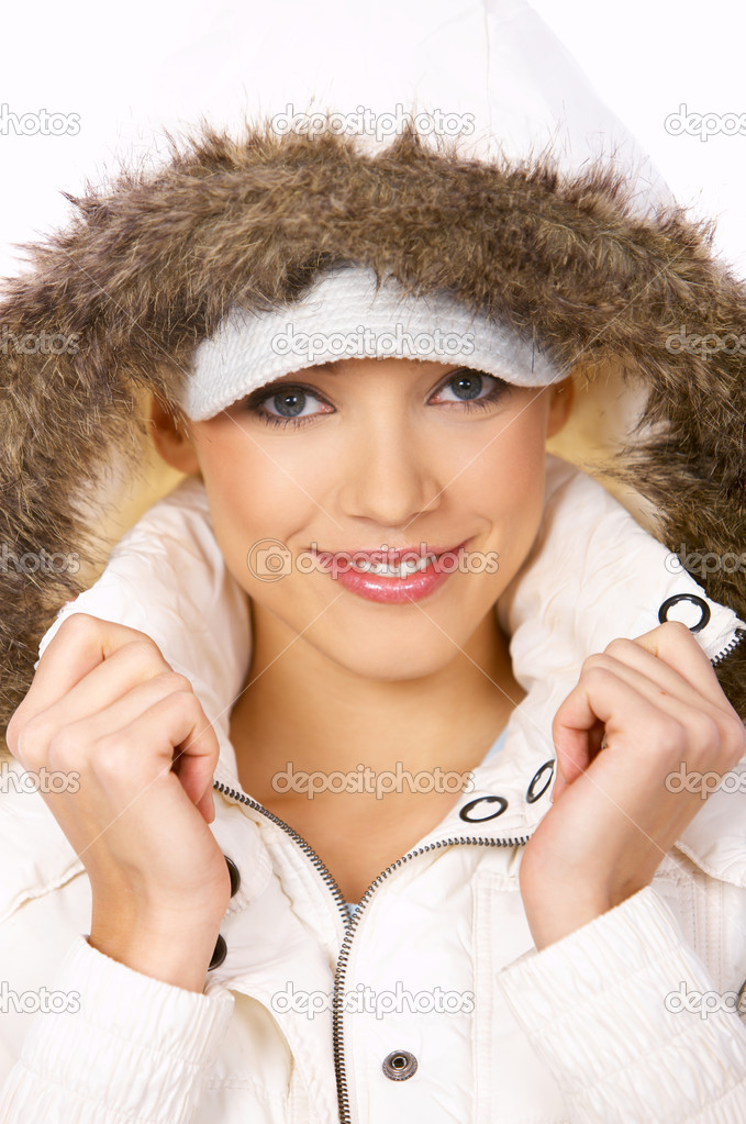 Portrait of beautiful woman wearing hooded winter jakcet  Stock Photo #1949042