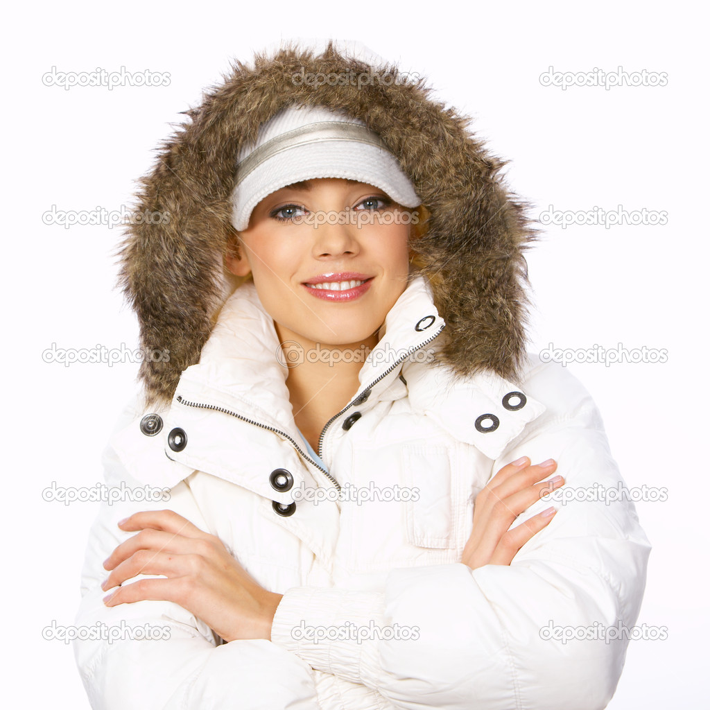Portrait of beautiful woman wearing hooded winter jakcet — Stock Photo #1949054