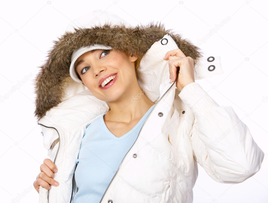 Portrait of beautiful woman wearing hooded winter jakcet — Stock Photo #1949082