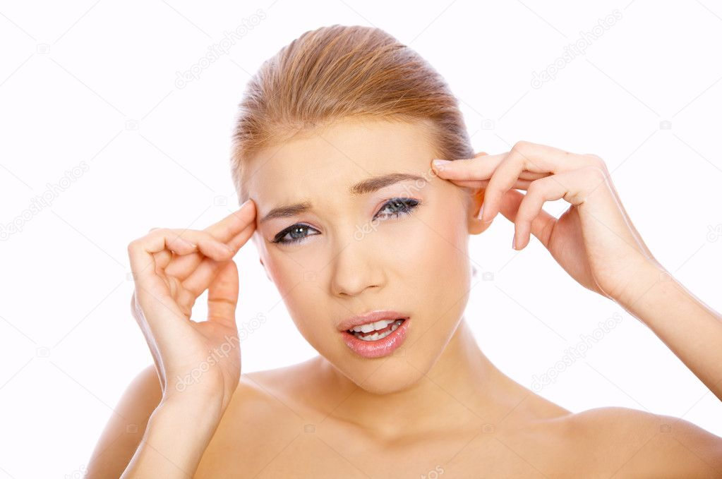 Portrait of beautiful blond woman with headache, isolated white — Stock Photo #1949215
