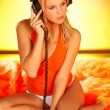 Sexy Girl with headphones close up — Stock Photo #1956412