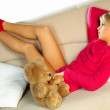 Sexy blonde girl with teddy bear — Stock Photo #1956434