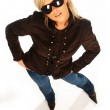 Blonde girl with black sunglasses on white — Stock Photo #1956489