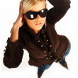 Blonde girl with black sunglasses on white — Stock Photo #1956496