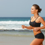 Fitness on beach — Stock Photo
