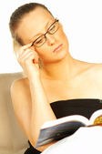 Young pretty women reading a book — Stock Photo