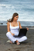Woman on the Black Beach — Stock Photo