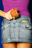 Donut Behind Back — Stock Photo