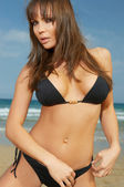 Girl in Black Bikini — Stock Photo
