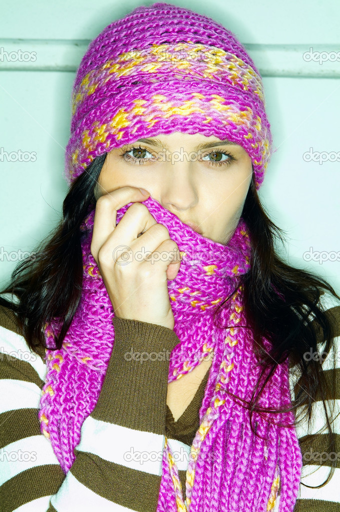 Portrait of beautiful woman wearing hat and scarf — Stock Photo #1956888