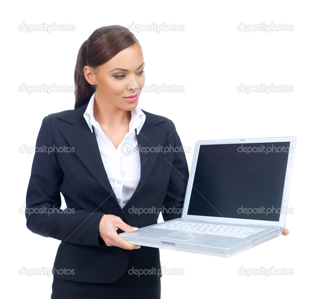 Portrait of beautiful and young business woman holding laptop — Stock Photo #1957680