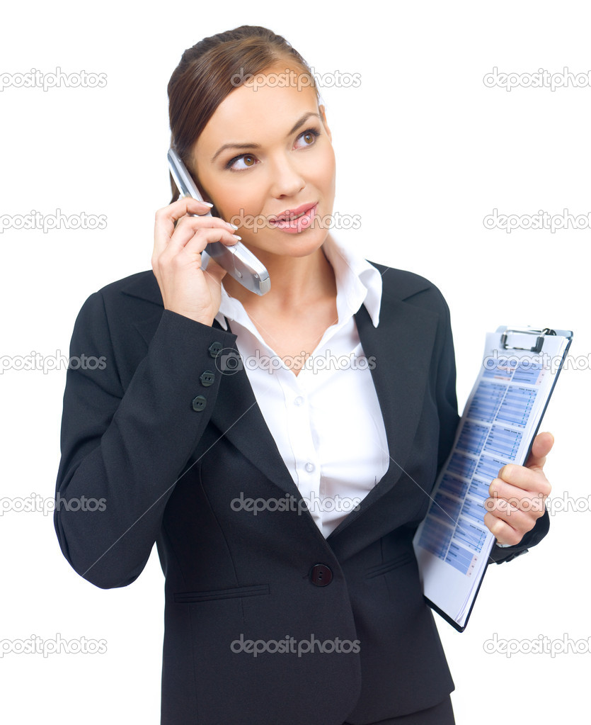Beautiful and young business woman is talking mobile phone — Stock Photo #1957705