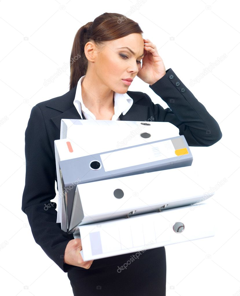 Overworked beautiful business woman who holding tower of binders — Stock Photo #1957751