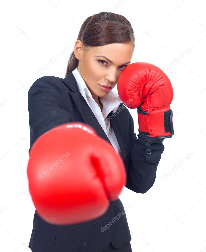 Portrait of beautiful and young business woman wearing boxing gloves — Stock Photo #1957772