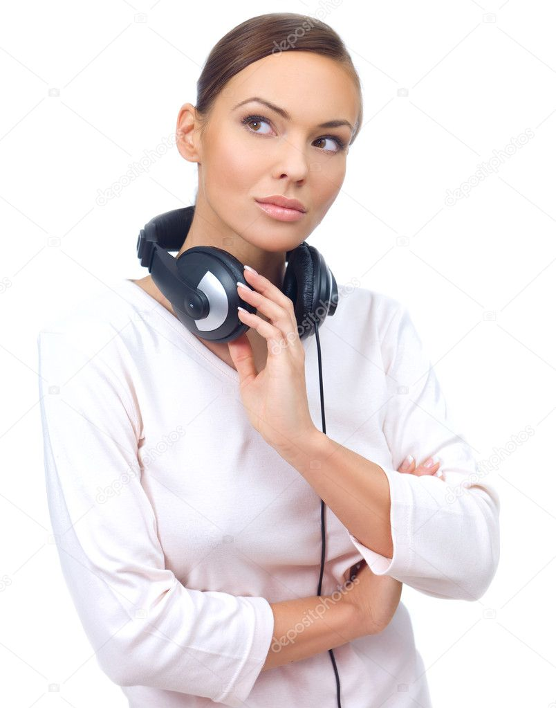 Beautiful young lady with music headphones on white — Stock Photo #1958678