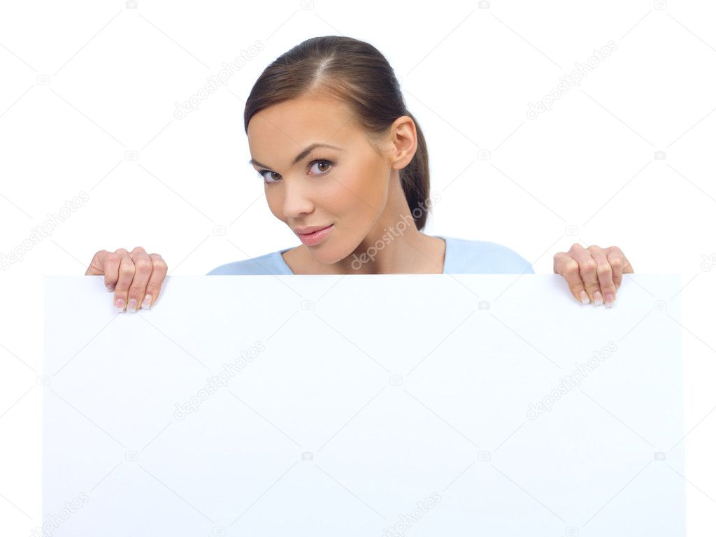 Cute woman holding an empty white board — Stock Photo #1958812
